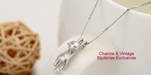 COLAR - AMOR DE GATO  Prata Esterlina com pingente fofo - Um lindo gatinho - Corrente  40 cm Pingente 4 cm