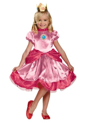 Be the princess that inspires Mario's quest in this toddler Princess Peach costume. This is an officially licensed costume from Nintendo.