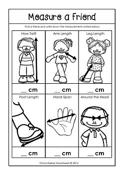 Measure a friend! Work out how many cm tall they are, their arm length, leg length, foot length, hand span and around their head. A great metric measurement worksheet for teaching Centimeters/ Centimetres!