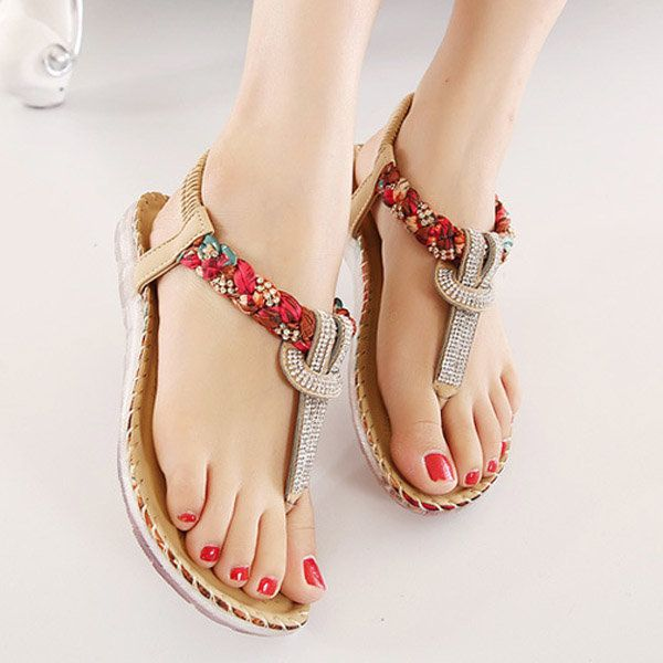 Women Girls Bohemia Sandals Summer Beaded Clip Toe Beach Flats Shoes