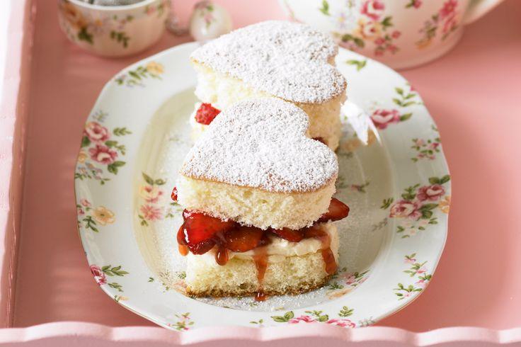 Strawberry love heart sponge cakes #wedding #valentines http://www.taste.com.au/recipes/17189/strawberry+love+heart+sponge+cakes