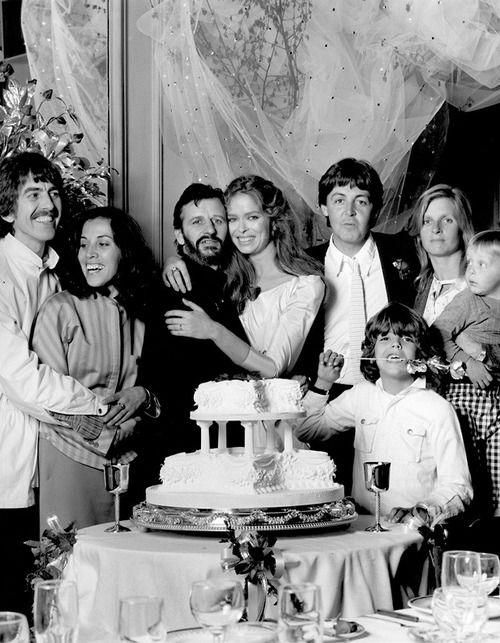 Richard Starkey and Barbara Bach-Starkey wedding with George Harrison, Olivia Arias-Harrison, Paul McCartney, and Linda Eastman McCartney (April 27, 1981)