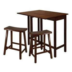"""Winsome Wood Lynnwood 3-Pc High Drop Leaf Table with 24"""""""" Saddle Seat Stool"""