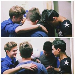 """One of the last group hugs, of the last show, IM5 performed at with 5/5.. But IM5 will always be 5/5 because Dalton will always be with us, no matter what he does. And IM5 will always be """"Hey what's up guys we're IM5. I'm Cole, I'm Will, I'm Dana, I'm Dalton, and I'm Gabe"""" It will NEVER be IM4 or nobody can ever replace Dalton at all. It will always be IM5 because it is a brotherhood. They are & will stay brothers the rest of there lives. I will always love them no matter what<3 #IM5…"""