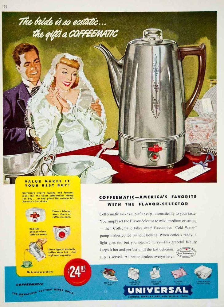 1949 Ad Vintage Universal Coffeematic Coffeemaker Percolator Coffee Bride Groom
