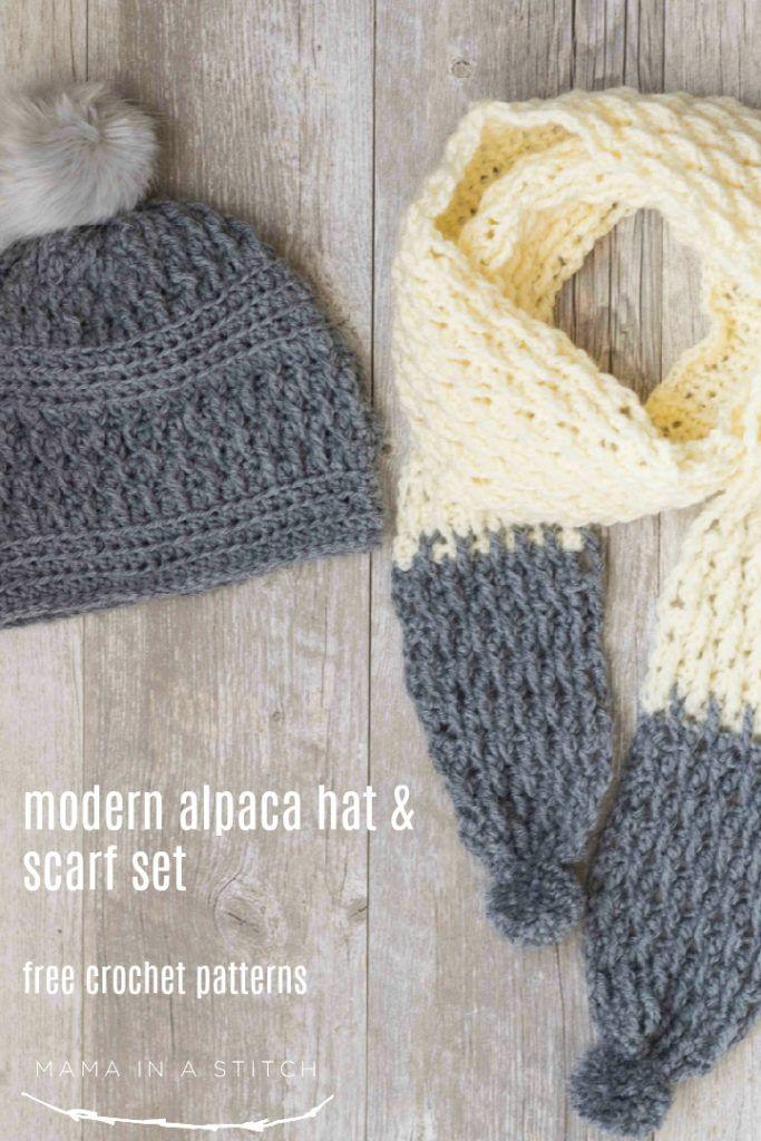 Alpaca Squishy Pom Beanie Crochet Hat Pattern Scarf Crochet Pattern Crochet Mens Scarf Crochet Hat Pattern