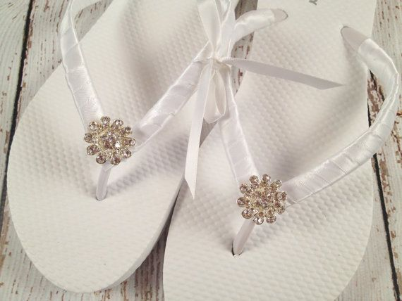 Bridal Flip Flops / Bridesmaid Flip Flops / by BridalBlissCouture, $20.00