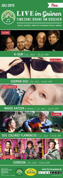Live im Grünen – Timezone-Bühne am Büdchen - das Programm Juli 2015