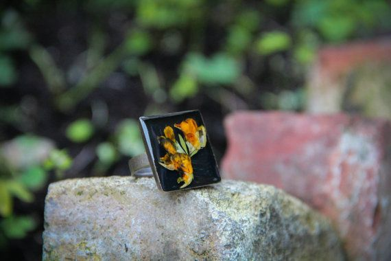 Lotus Corniculatus Resin Ring Garden Secrets by SavageSpell
