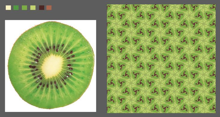 Defining and applying a colour pallet... from a kiwi! (The details of the pattern reminded me of a kiwi slice, so I thought I'd see what it looked like with a kiwi colour scheme).