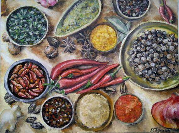 Spices Still life Original oil painting Chili by PaintingByAHeart