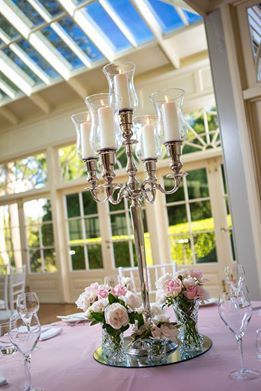 Windlight Candleabra with Crystal Vases and Fresh Florals -  by Toowoomba White Wedding and Event Hire, Weddings, Parties, Corporate Functions {Toowoomba, Surrounding Areas}