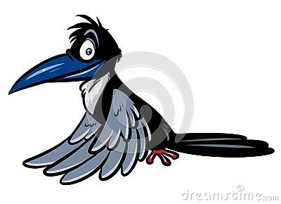 Raven gray bird cartoon illustration isolated image character