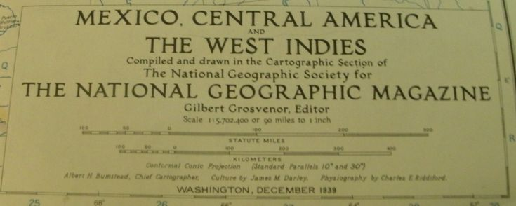 National Geographic Society Map: Mexico, Central America & West Indies, 1939, 1 - sided, great shape by VintageNEJunk on Etsy