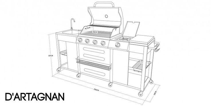 Photo Barbecue au gaz cuisine extérieure 5 brûleurs + évier, planche, ustensiles et thermomètre