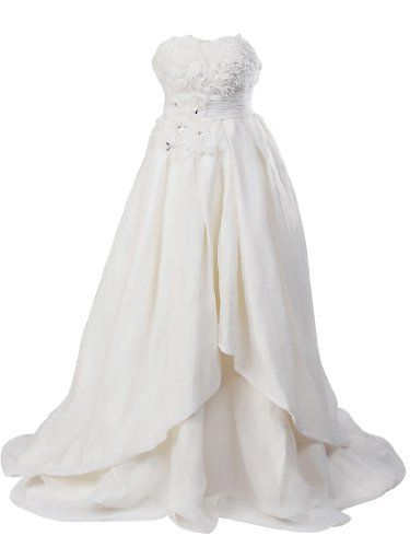 Artwedding Rosette and Rhinestone Satin Ball Gown Formal Prom Wedding Dress,Ivory,20W. This awesome product currently in stocks.