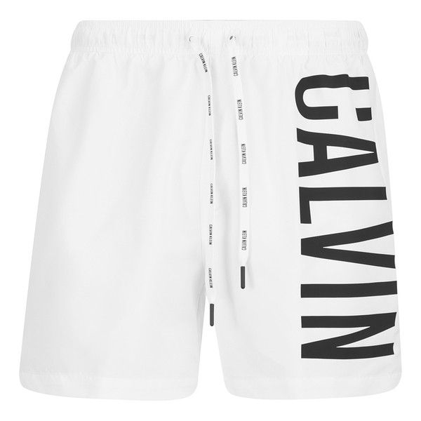 Calvin Klein Men's CK One Logo Intense Power Swim Shorts - White ($47) ❤ liked on Polyvore featuring men's fashion, men's clothing, men's swimwear, white, mens clothing, mens swim trunks, mens swimshorts, mens swimwear and men's apparel