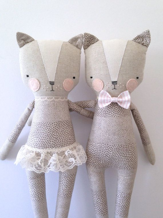 luckyjuju kitty boy cat lovie doll por luckyjuju en Etsy