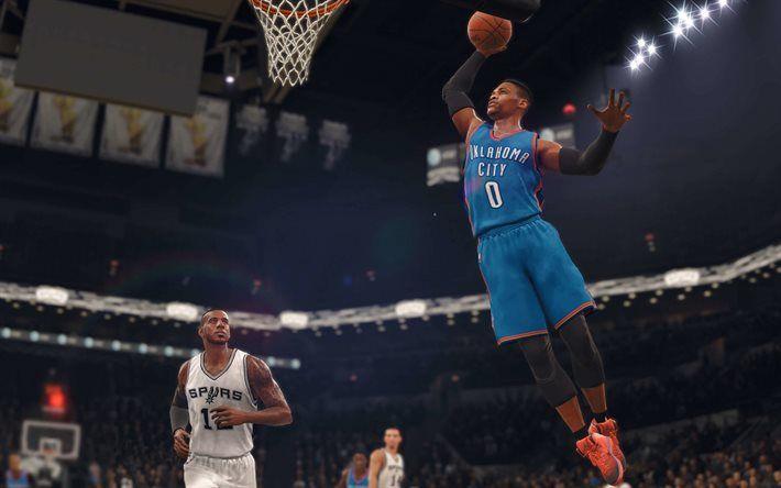 Descargar fondos de pantalla NBA 18 de 2017, basktball, Oklahoma City Thunder, Spurs de San Antonio, de la NBA