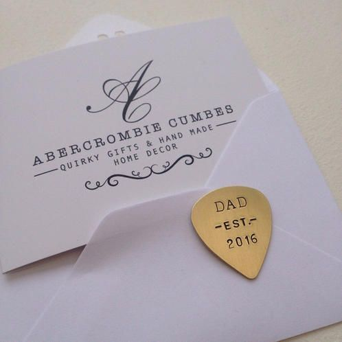 Dad established Plectrum - New Dad Gift - New Father - Parenting - Dad quotes - Dad Gifts - UK gifts - Made in Devon - Abercrombie Cumbes