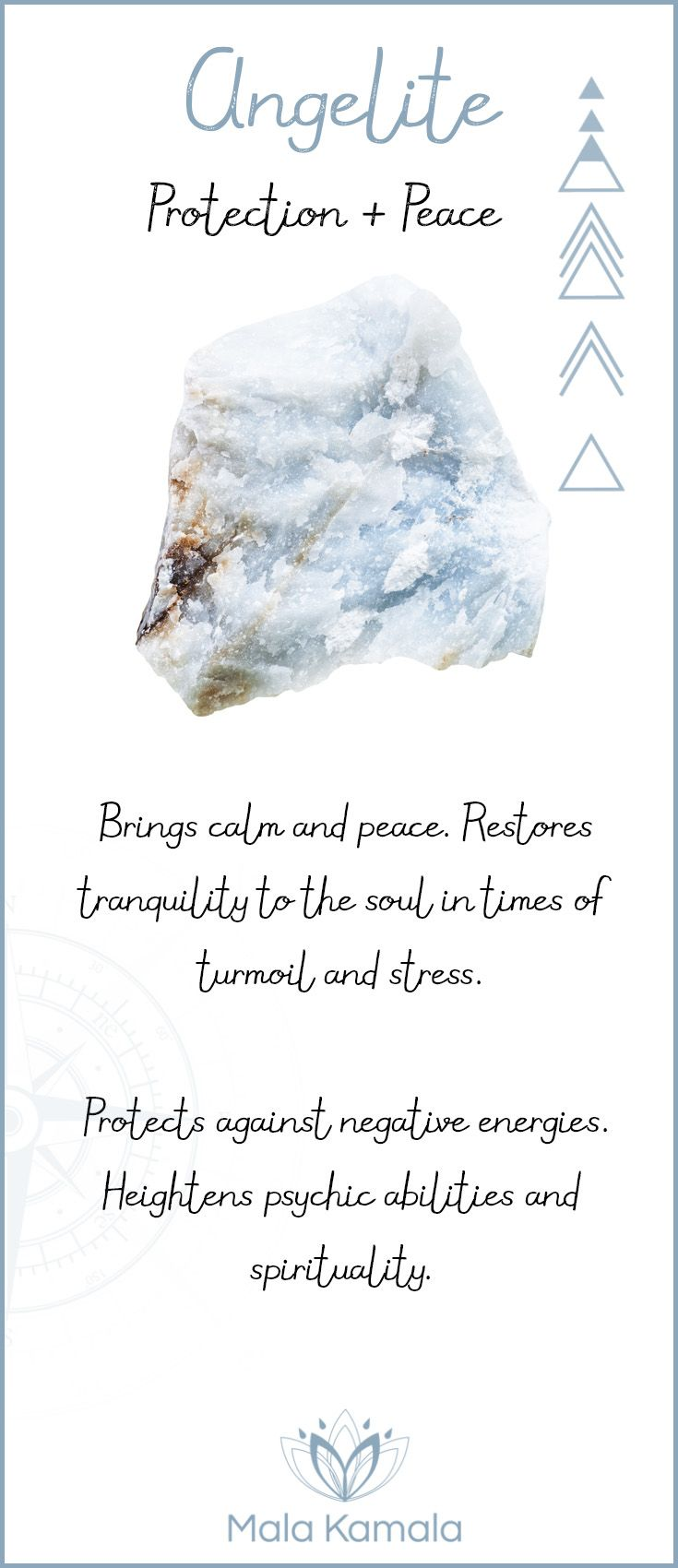 What is the meaning and crystal and chakra healing properties of angelite? A stone for protection and peace.