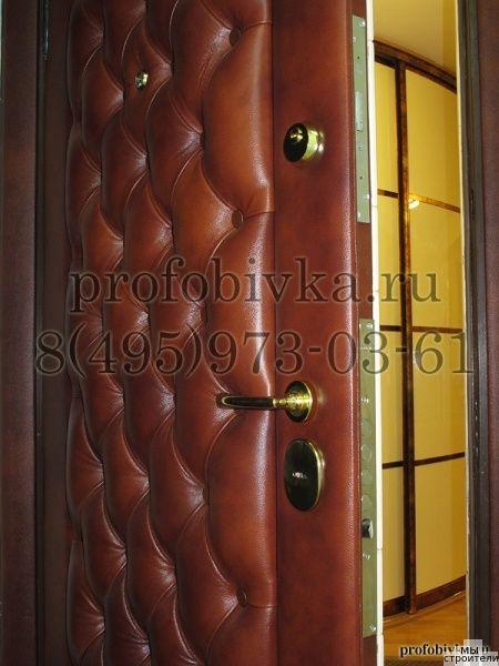 Отделка дверей натуральной кожей