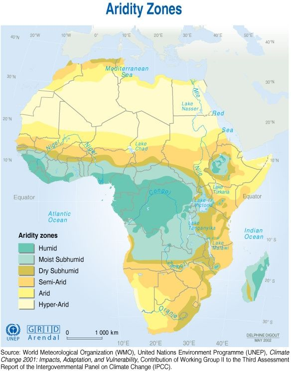Map of Africa's Aridity Zones