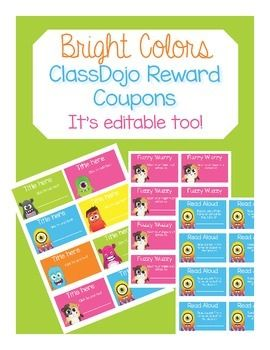 This products contains 12, student-centered ClassDojo reward coupons! The product also comes with an editable page for you to design rewards for your students!The coupons are simple and easy to read, but the bright colors appeal to all students. Your students will be motivated and excited to earn these coupons!Colors show up darker when printed so the white text will show up better after printing.