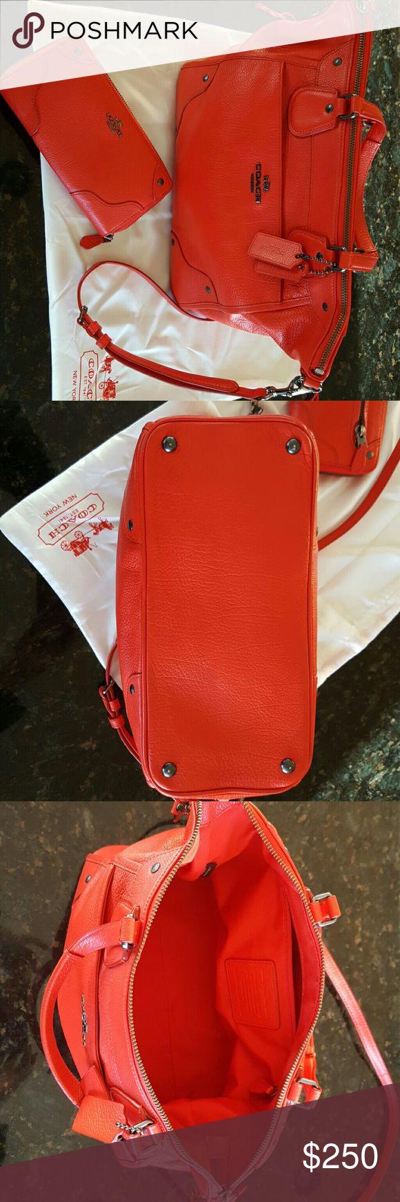 Authentic COACH Handbag with Wallet Soft Leather, Orange Coach Bags