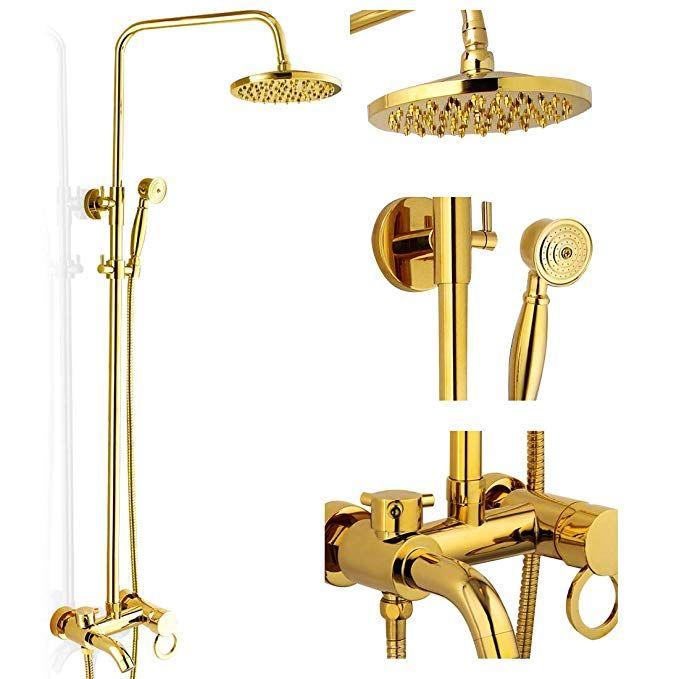 polished gold shower set 8 inch