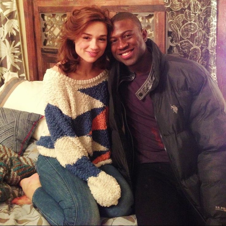 Crystal Reed (Allison) and Sinqua Walls (Boyd) behind the scenes of Teen Wolf.
