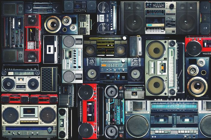 Vintage Wall Full Of Radio Boombox Of The 80s Wall Mural Boombox Vintage Walls Music Themed Bedroom