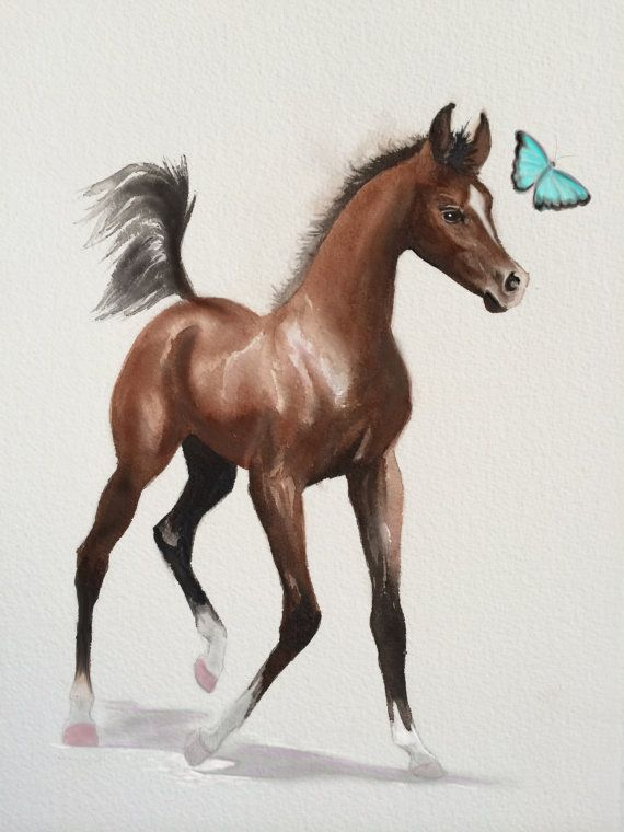 Watercolor Horse Painting  Giclee #artprint by SweetPeaAndGummyBear on Etsy #foal