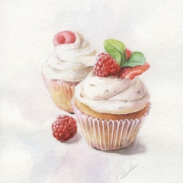 """""""Десерт с малинкой!!!"""" Акварель, бумага А4( в частной коллекции)  #watercolor #artwork #aquarelle #живопись #живописьтатьяныгладковой#капкейки"""