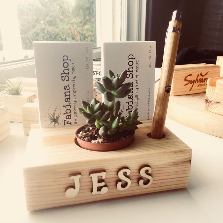 Business card holder with succulent and pen holder etsy
