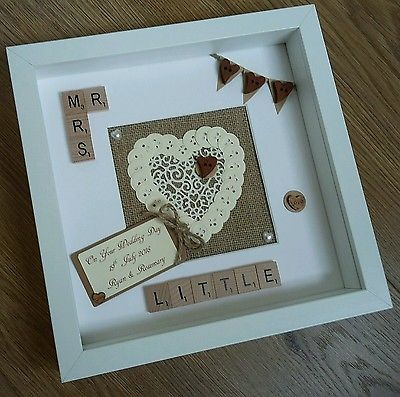 Personalised Scrabble tile Frame Rustic Wedding Engagement Anniversary gift
