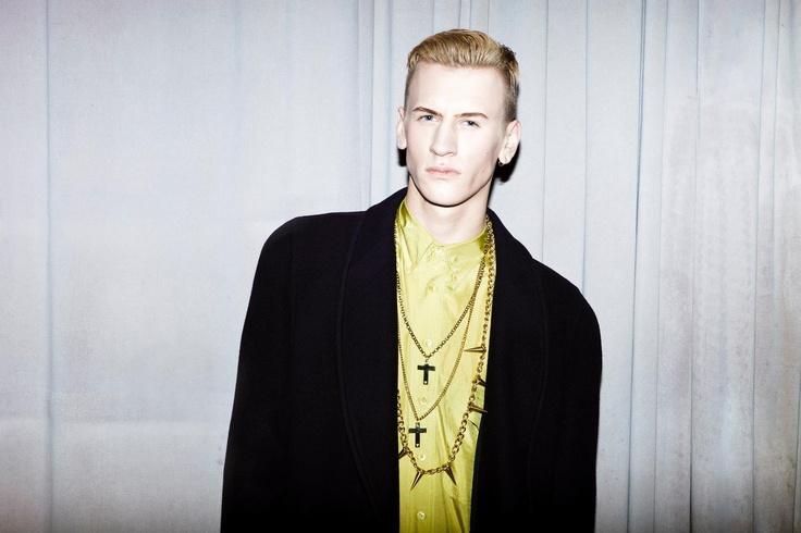 Charlie Isherwood- Wearing oversized 80's Windsmoor Coat and lime green 90's silk shirt
