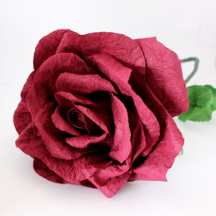 Giant Stemmed Rose- Deep Red – Paper Flowers Australia