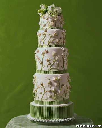 Wedding Cake with Sweet Peas and Orchids