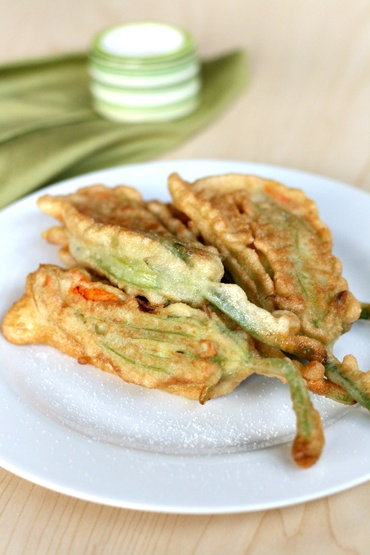 Friend Zucchini Flowers-- Fiore di Zucca Frita.  filled with mozarella nd anchovy, omg they are heaven, when in season the courgette flower