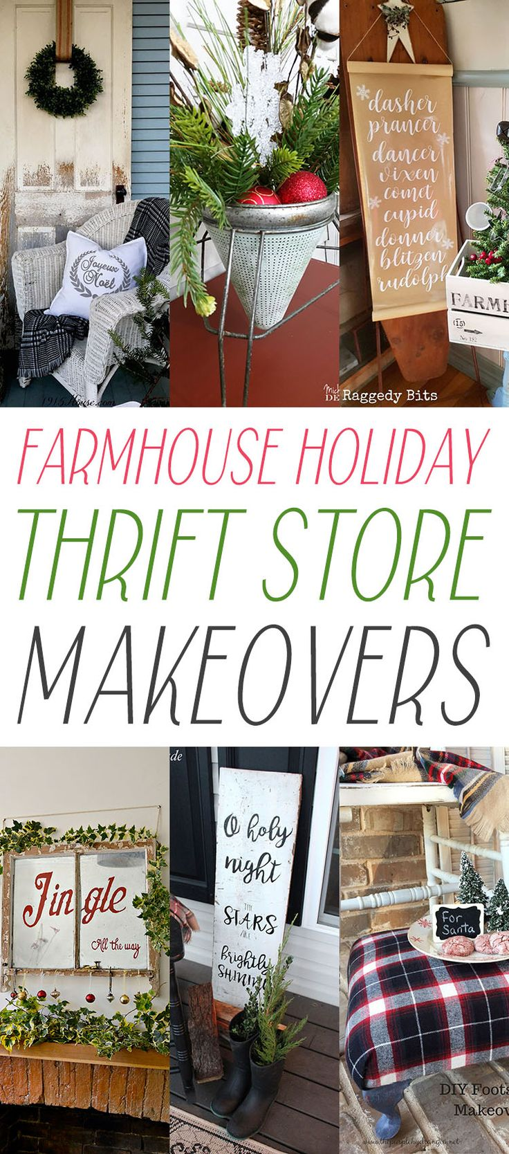 Farmhouse Holiday Thrift Store Makeovers you are going to love and be inspired by!