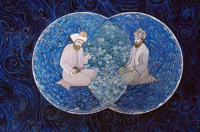 Mevlana ve Şems, İki Denizin Kavuşması   Mevlana   Collections   Fine Islamic Arts   Şermin Ciddi