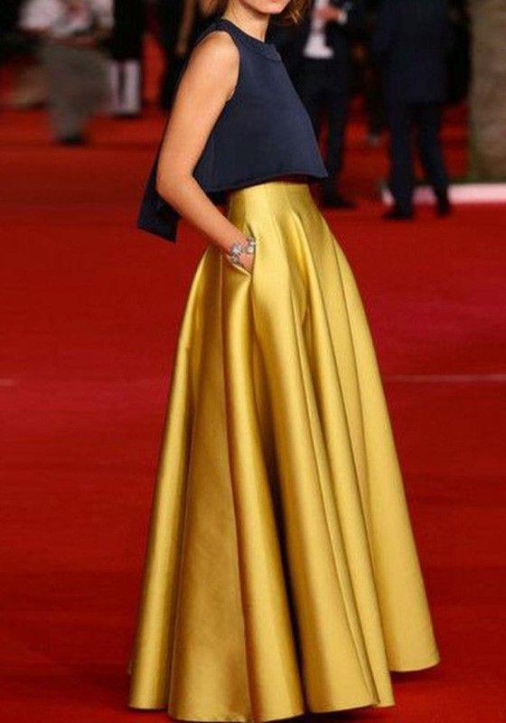 Golden Plain Pleated High Waisted Sweet Puffy Tutu Long Skirt: