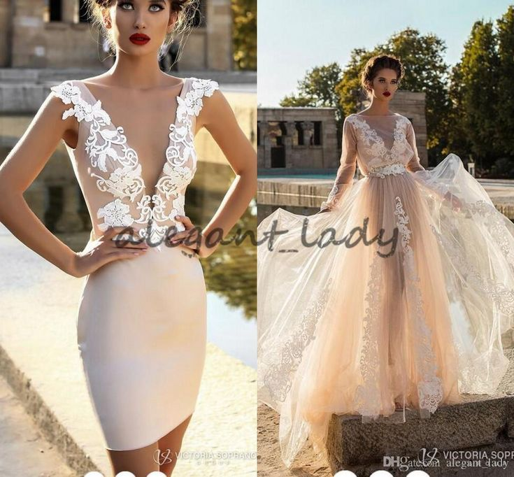 2018 Victoria Soprano Beach Holiday Wedding Dresses Two Pieces Champagne Long Sleeve Over Robe Dress with Mini Short Bridal Dress Overskirt Evening Dress Mermaid Wedding Dress Country Wedding Dress Online with $189.72/Piece on Alegant_lady's Store | DHgate.com