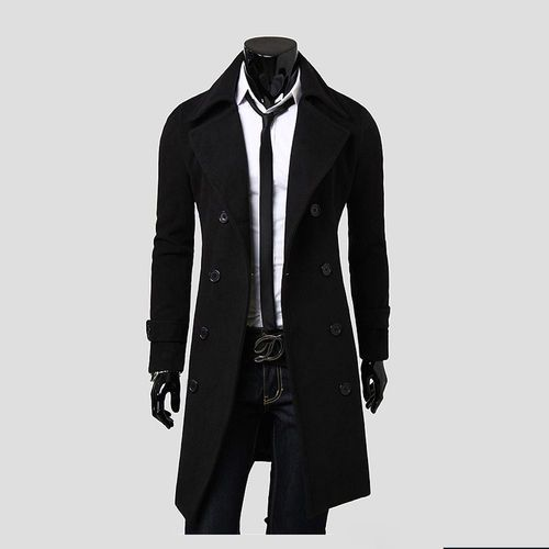 2016 New Fashion Men Long Coat Double-breasted Slim Woolen cloth coat