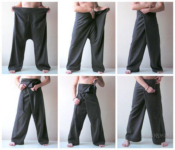 Thai Fisherman Pants - Brown Fishermen Trousers - Wrap Pants - Shanti - Yoga - Men - Women - Fisherman - Thailand - Plain Color. $21,50, via Etsy.
