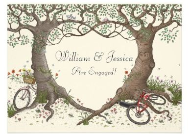 Bike and tree themed invites