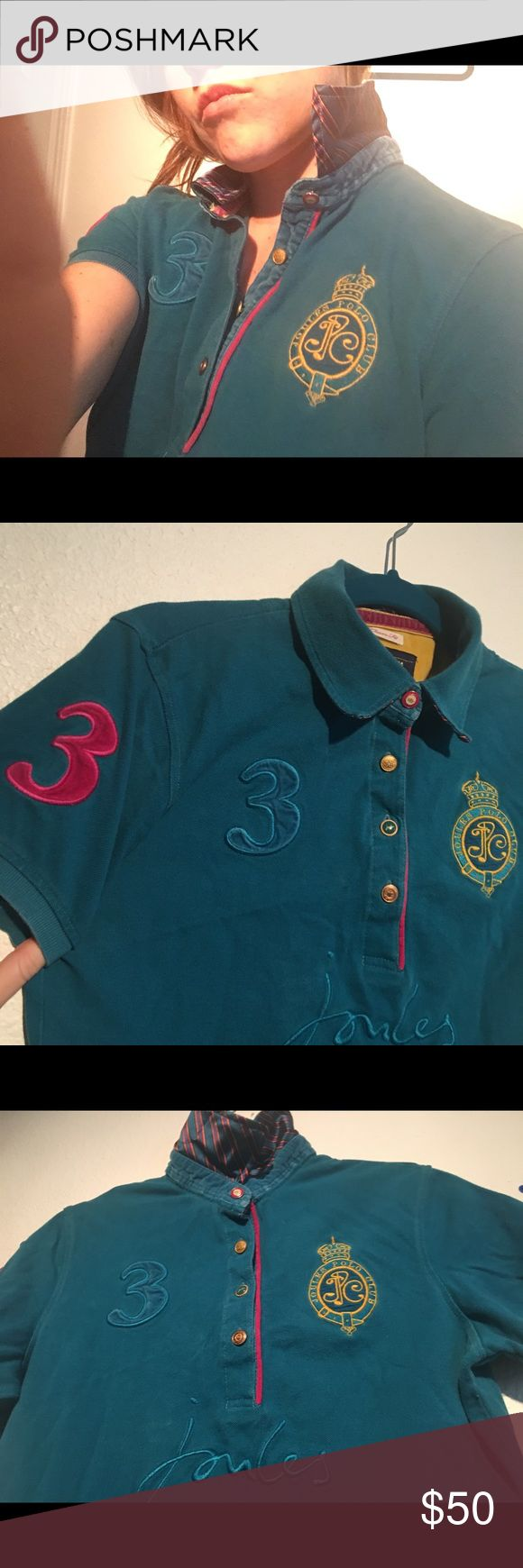 Joules polo- limited edition Joules polo shirt purchased in London. Fabulous details on buttons, stitching, silk stripe print under color. Beautiful blue color. Perfect condition Joules Tops
