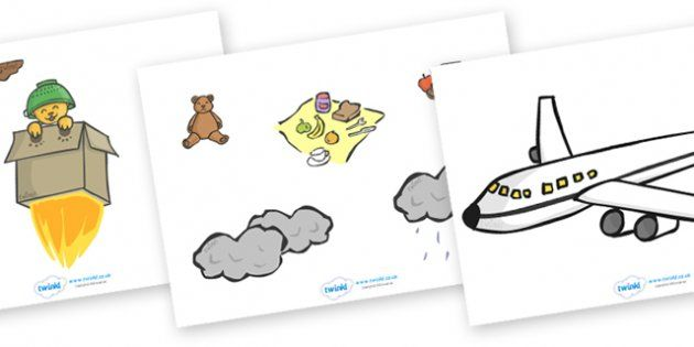 Whatever Next Story Cut Outs - Whatever Next!, Jill Murphy, resources, space, baby bear, Large family, rocket, moon, owl, story, story book, story book resources, story sequencing, story resources, cut out