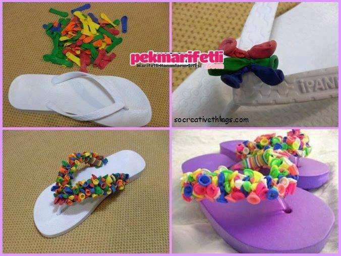Minik baloncuklarla plaj terliği süsleme :)
